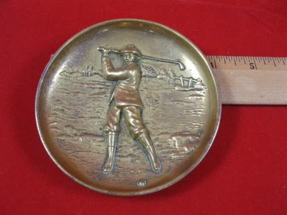 1908 brass golf tray