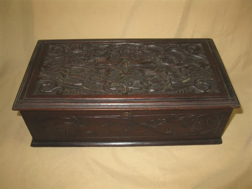 english oak carved box
