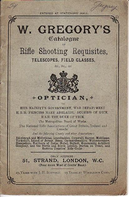 Gregory 1886 Rifle Shooting Requisites Catalog