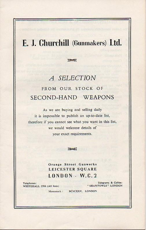 Churchill Gunmakers Ltd. Second Hand Weapons Catalog