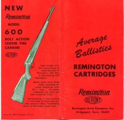 "Remington brochure ""average ballistics"""