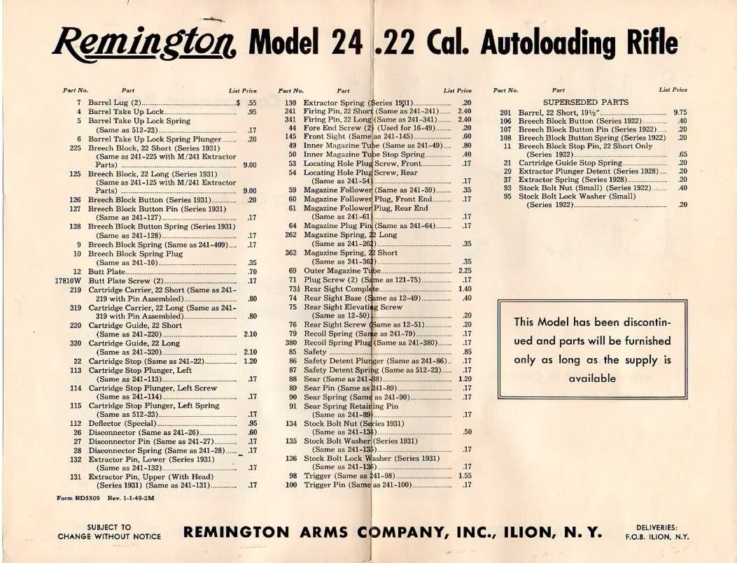 remington model 24 parts list