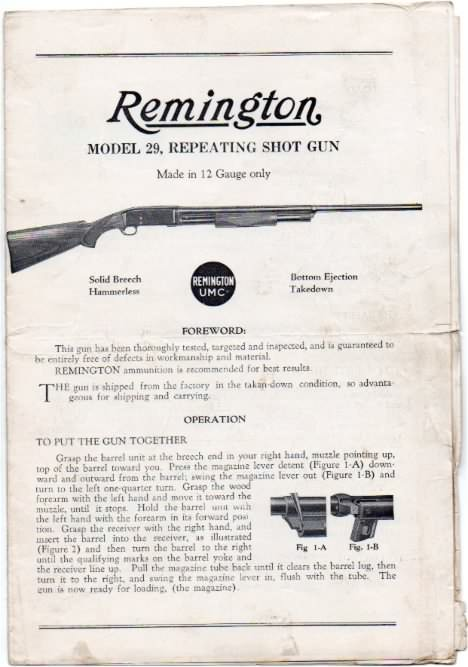 instructions remington model 29