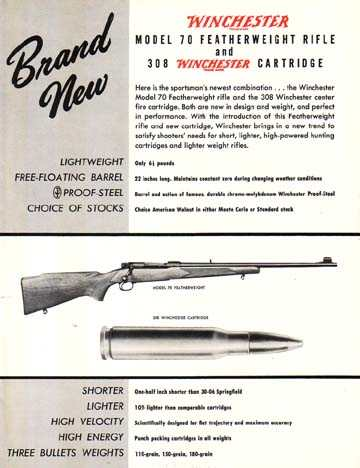 W 26016  WINCHESTER BROCHURE, INTRODUCES THE MODEL 70 Featherweight