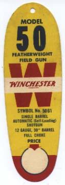 W 6977  Winchester Hang tag Model 50